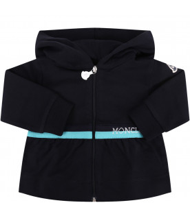 MONCLER KIDS Black baby girl tracksuit