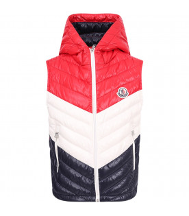MONCLER KIDS Red, white and blue quilted vest