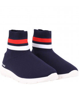 Blue kids sneaker with white logo