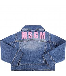 MSGM KIDS Light blue babygirl jacket with pink logo