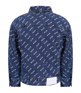 MSGM KIDS Blue kids jacket with white all-over logo