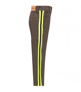 MSGM KIDS Military green boy jeans with neon yellow and black stripes