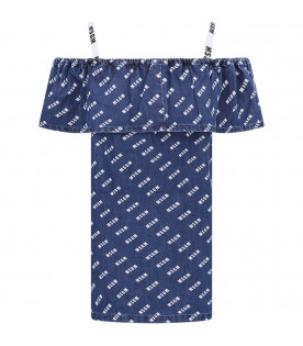 MSGM KIDS Abito blu per bambina con logo bianco all-over