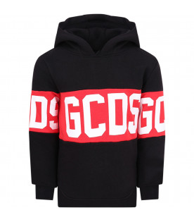 GCDS KIDS Black kids sweatshirt with white logo