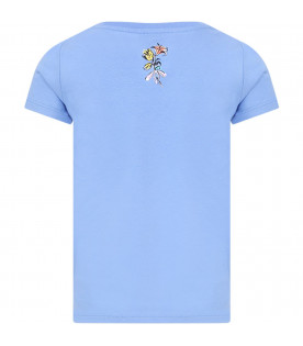 GUCCI KIDS Light blue girl T-shirt with pink double GG