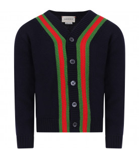 GUCCI KIDS Blue boy cardigan with red and green Web detail
