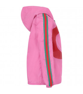 GUCCI KIDS Pink girl windbreaker with red double GG