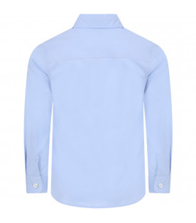 GUCCI KIDS Light blue boy shirt with white logo