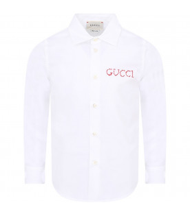 GUCCI KIDS White boy shirt with red logo