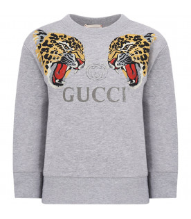 GUCCI KIDS Grey boy sweatshirt with colorful leoprds and logo