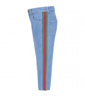 Light blue boy jeans with red and green Web detail