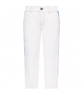GUCCI KIDS White boy jeans with red and blue Web detail
