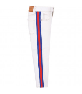 White boy jeans with red and blue Web detail