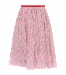 GUCCI KIDS Pink girl skirt with azure iconic double GG