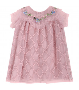 GUCCI KIDS Pink babygirl dress with pink iconic double GG