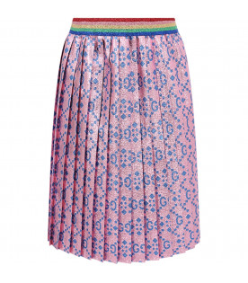 Pink girl skirt with azure iconic double GG