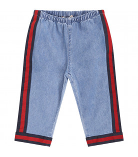 GUCCI KIDS Light blue babykids jeans with red and blue Web detail