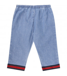 Light blue babykids jeans with red and blue Web detail