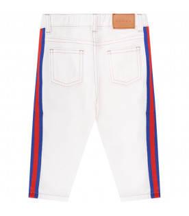 GUCCI KIDS White babykids jeans with red and blue Web detail