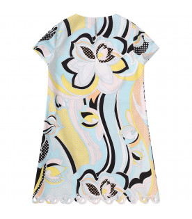 EMILIO PUCCI JUNIOR Light blue girl dress with colorful iconic print