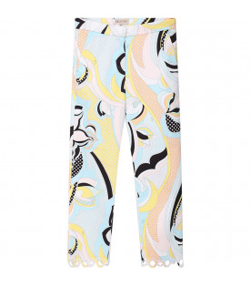 Light blue pants for girl with colorful iconic print