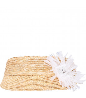 SIMONETTA Straw girl hat with white flower
