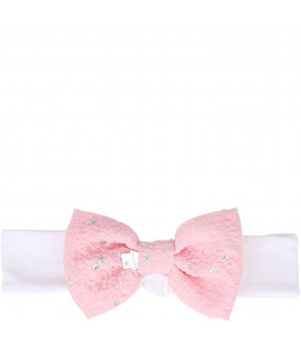 SIMONETTA White girl hairband with silver polka-dots bow
