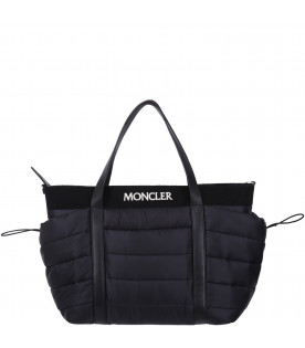 MONCLER KIDS Black changing bag with logo