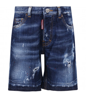 DSQUARED2 Blue boy short with red spots