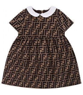 FENDI KIDS Light brown babygirl dress with iconic double FF