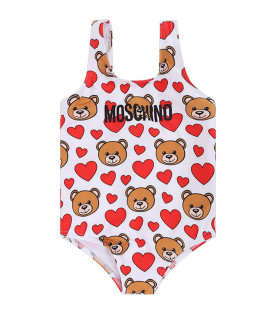 MOSCHINO KIDS White babygirl swimsuit with black logo