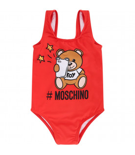 MOSCHINO KIDS Red babygirl swimsuit with colorful Teddy Bear
