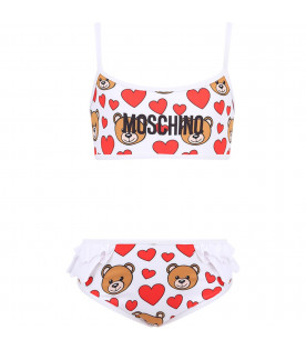 MOSCHINO KIDS White girl bikini with black logo