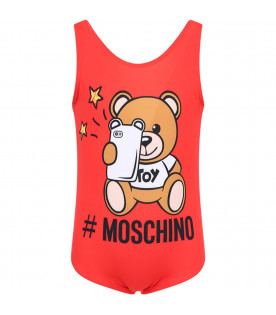 MOSCHINO KIDS Red girl swimsuit with colorful Teddy Bear