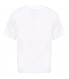 MOSCHINO KIDS White girl T-shirt with spotted logo
