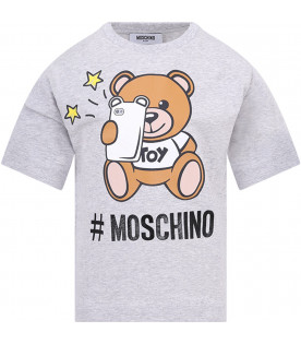 MOSCHINO KIDS Grey kids T-shirt with colorful Teddy Bear