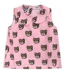 MOSCHINO KIDS Pink babygirl blouse with spotted Teddy Bear