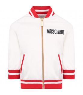 MOSCHINO KIDS White girl bomber jacket with black logo and ccolorful Teddy Bear