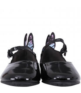 SOPHIA WEBSTER MINI Black ''Junior'' girl flat shoes with colorful wings