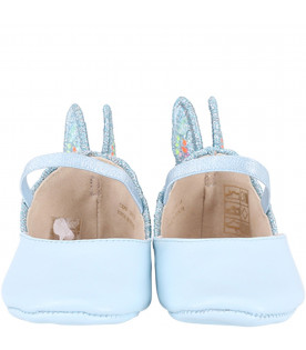 SOPHIA WEBSTER MINI Light blue ''Chiara'' babygirl flat shoes