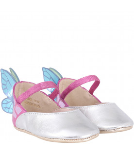 SOPHIA WEBSTER MINI Silver and purple ''Chiara'' babygirl flat shoes