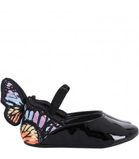 SOPHIA WEBSTER MINI Black ''Chiara'' babygirl flat shoes