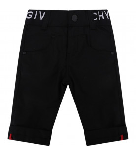 GIVENCHY KIDS Black babygirl pants with white logo