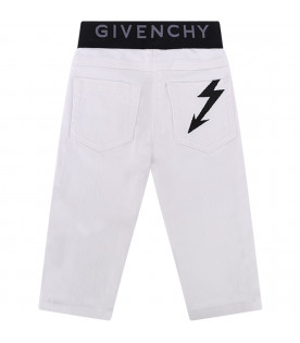 GIVENCHY KIDS Jeans bianco per neonata coon logo grigio