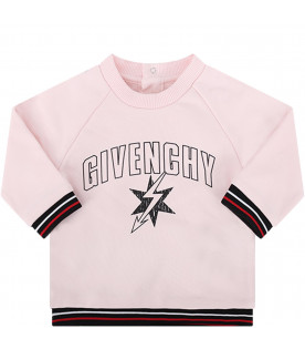 GIVENCHY KIDS Pink babygirl sweatshirt with black and pink logo