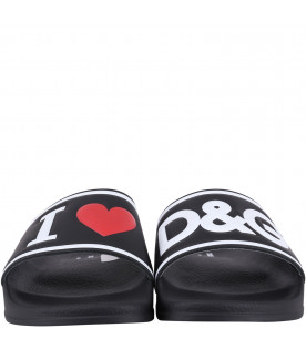 DOLCE & GABBANA KIDS Black kids slide with white logo