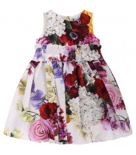DOLCE & GABBANA KIDS White babygirl dress with colorful flowers