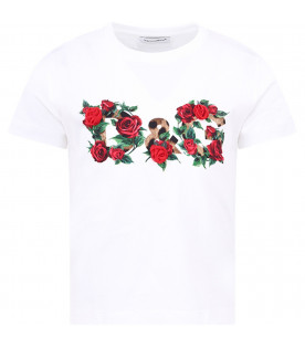 DOLCE & GABBANA KIDS White girl T-shirt with spotted logo