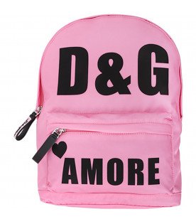 DOLCE & GABBANA KIDS Pink girl backpack with black logo