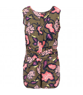LITTLE MARC JACOBS Green girl summersuit with colorful flowers